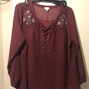 Women's long sleeve pullover blouse
